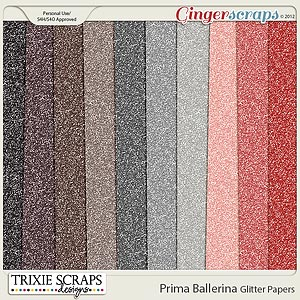 Prima Ballerina Glitter Papers by Trixie Scraps Designs