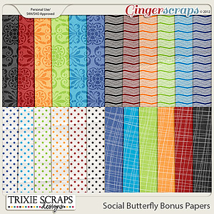 Social Butterfly Bonus Papers by Trixie Scraps Designs