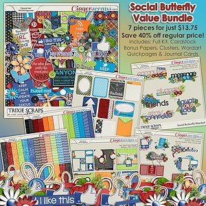 Social Butterfly Value Bundle by Trixie Scraps Designs