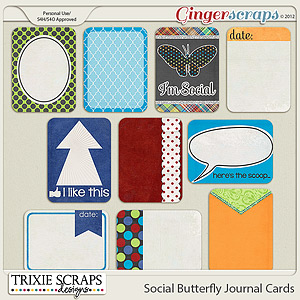 Social Butterfly Journal Cards by Trixie Scraps Designs