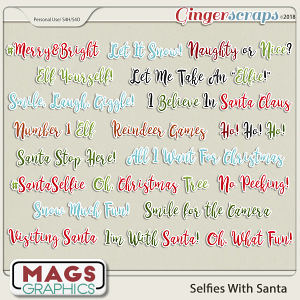 Selfies With Santa WORD TAGS by MagsGraphics