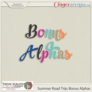 Summer Road Trip Bonus Alphas by Trixie Scraps Designs