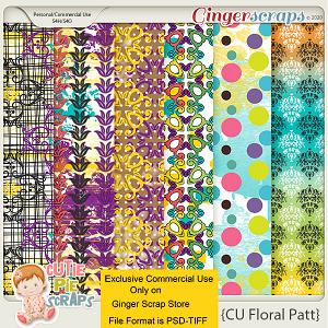 CU-Floral Pattern Papers 02 -Layered Templates By Cutie Pie Scraps