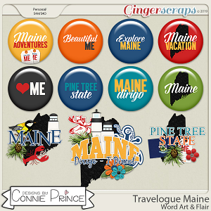 Travelogue Maine - Word Art & Flair Pack by Connie Prince
