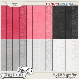 {HUES} Pretty Pink - Embossed Papers