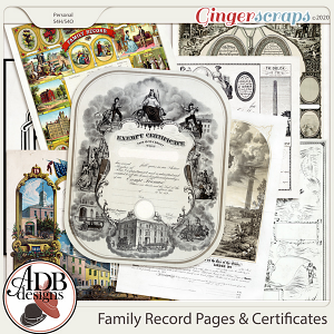 Heritage Resource - Family Record: Pages & Certificates by ADB Designs
