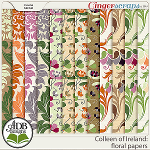 Colleen of Ireland Floral Papers by ADB Designs