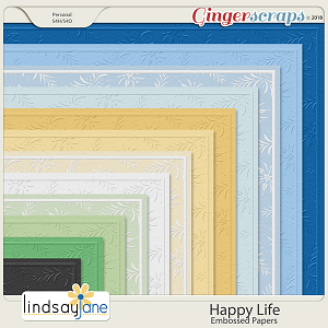 Happy Life Embossed Papers by Lindsay Jane