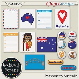 Passport to Australia JOURNAL CARDS & FLAIRS by Heather Z Scraps
