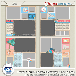 Travel Album Coastal Getaway 2 Templates by Miss Fish