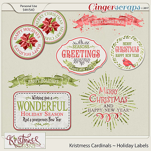 Kristmess Cardinals Holiday Labels