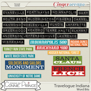 Travelogue Indiana - Word Bits by Connie Prince