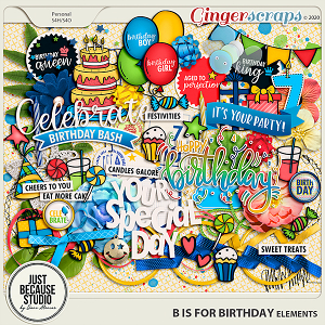 B is For Birthday Elements by JB Studio