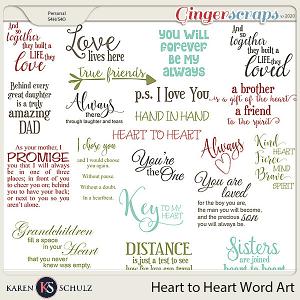Heart to Heart Word Art by Karen Schulz