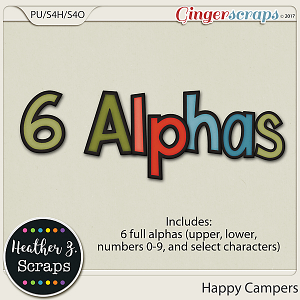 Happy Campers ALPHABETS by Heather Z Scraps
