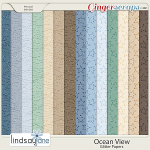 Ocean View Glitter Papers by Lindsay Jane