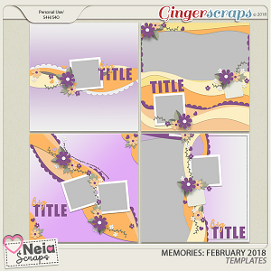 Memories: February 2018 - Templates - by Neia Scraps