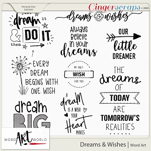Dreams and Wishes Word Art