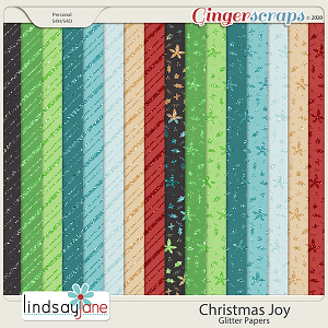 Christmas Joy Glitter Papers by Lindsay Jane