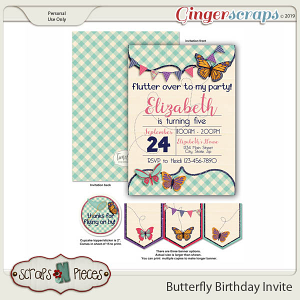 Butterfly Birthday Invitation by Scraps N Pieces