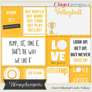 I Love Volleyball Cards- Yellow