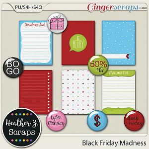 Black Friday Madness JOURNAL CARDS & FLAIRS by Heather Z Scraps
