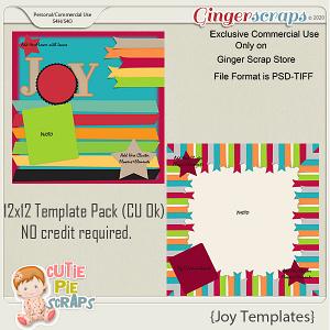 Joy - 12x12 Template Pack (CU Ok) by Cutie Pie Scraps