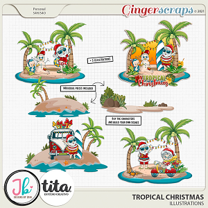Tropical Christmas Illustrations by JB Studio and Tita
