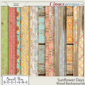 Sunflower Days Wood Backgrounds