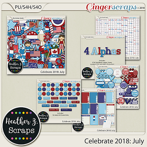 Celebrate 2018: July BUNDLE by Heather Z Scraps
