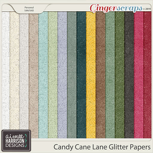 Candy Cane Lane Glitter Papers by Aimee Harrison