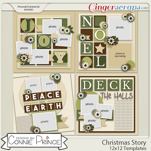 Christmas Story - 12x12 Templates (CU Ok) by Connie Prince