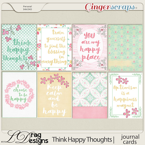 Think Happy Thoughts: Journal Cards by LDragDesigns