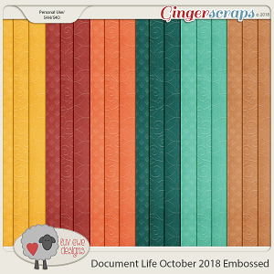 Document Life October 2018 Embossed Papers by Luv Ewe Designs
