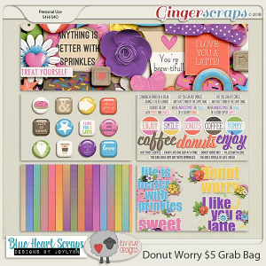 Donut Worry $5 Grab Bag by Luv Ewe Designs and Blue Heart Scraps
