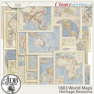 Heritage Resource 1883 World Maps by ADB Designs