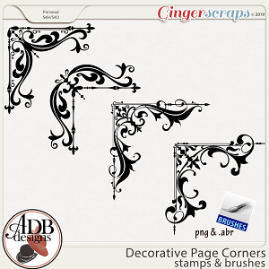 Heritage Resource - Decorative Page Corners Stamps & Brushes by ADB Designs