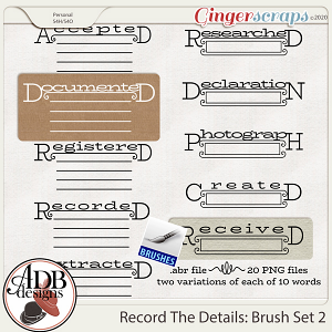 Heritage Resource - Record The Details Brushes Vol 02 by ADB Designs