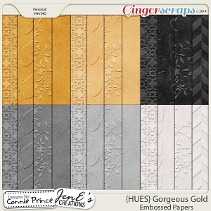 {HUES} Gorgeous Gold - Embossed Papers