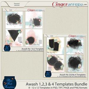 Awash Collection No 1-4 Template Bundle by Miss Fish