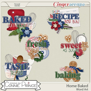 Home Baked - Word Art Pack by Connie Prince