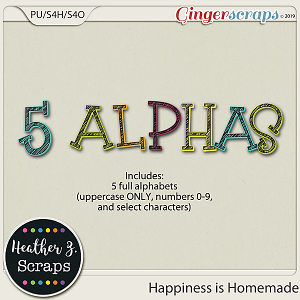 Happiness is Homemade ALPHABETS by Heather Z Scraps