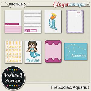 The Zodiac: Aquarius JOURNAL CARDS by Heather Z Scraps