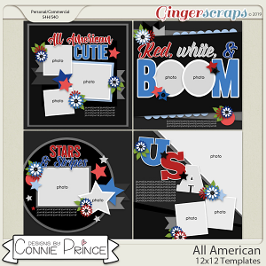 All American - 12x12 Templates (CU Ok) by Connie Prince