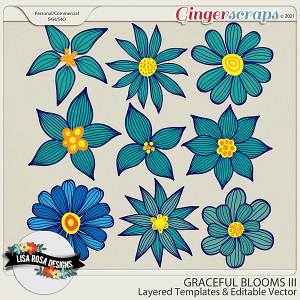 Graceful Blooms III CU/PU Layered Templates by Lisa Rosa Designs