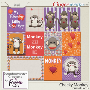 Cheeky Monkey Journal Cards by Scrapbookcrazy Creations