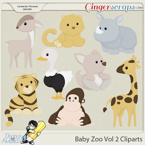 Doodles By Americo: Baby Zoo Vol 2 Cliparts