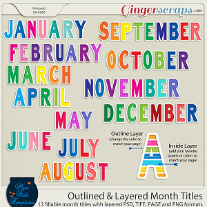 Outlined and Layered Month Titles 2021 by Miss Fish