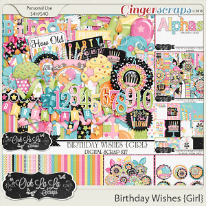 Birthday Wishes Girl Digital Scrapbooking Bundle