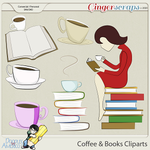 Doodles By Americo: Coffee And Books Cliparts